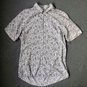 All Saints Button Down Short Sleeved Top Geo Print